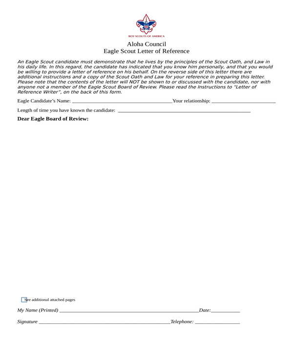 eagle scout letter of reference recommendation form in doc