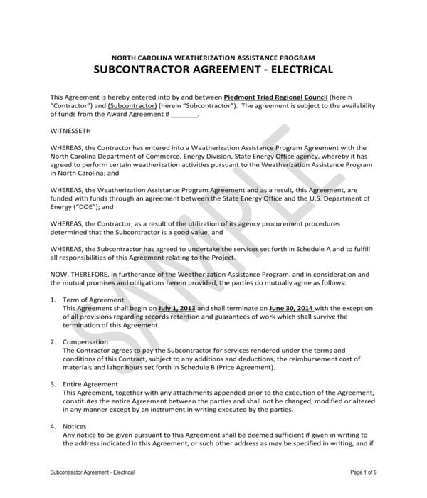 electrical subcontractor agreement form sample