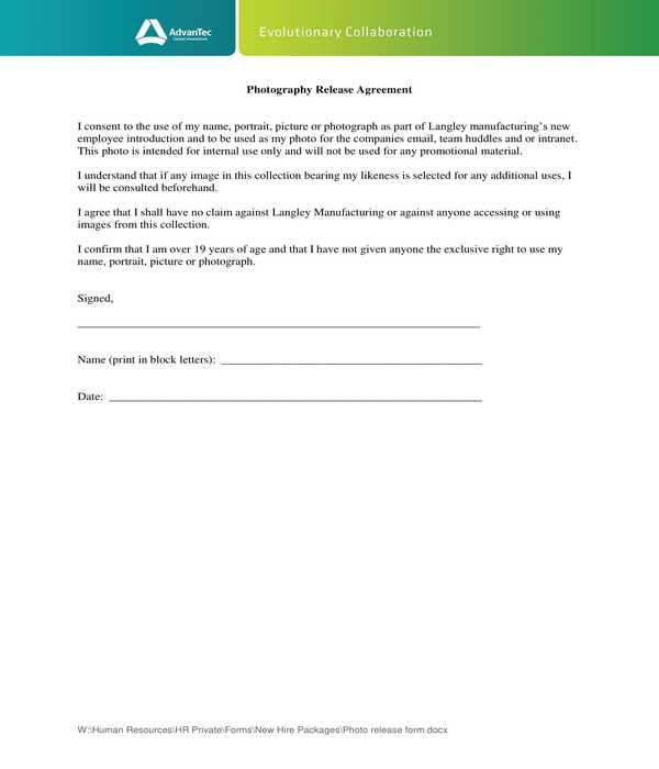 employee photography release agreement form