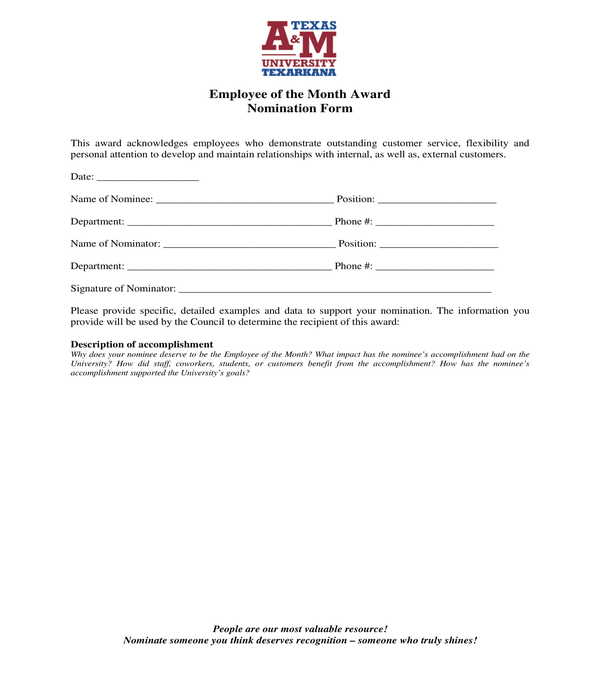 employee of the month award nomination form