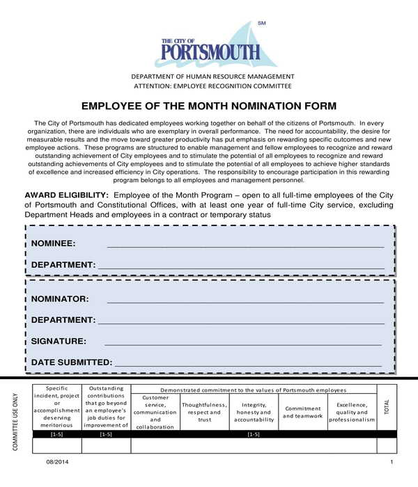 employee of the month nomination form sample