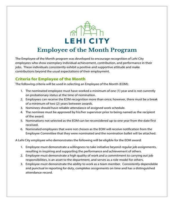 employee of the month program and nomination form
