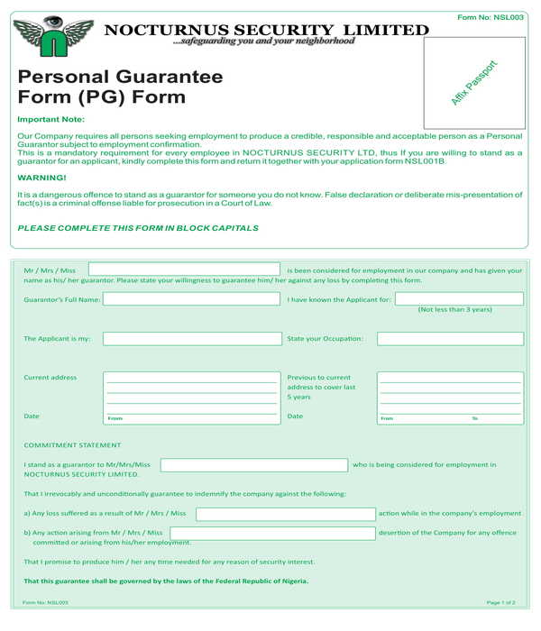 employment personal guarantee form