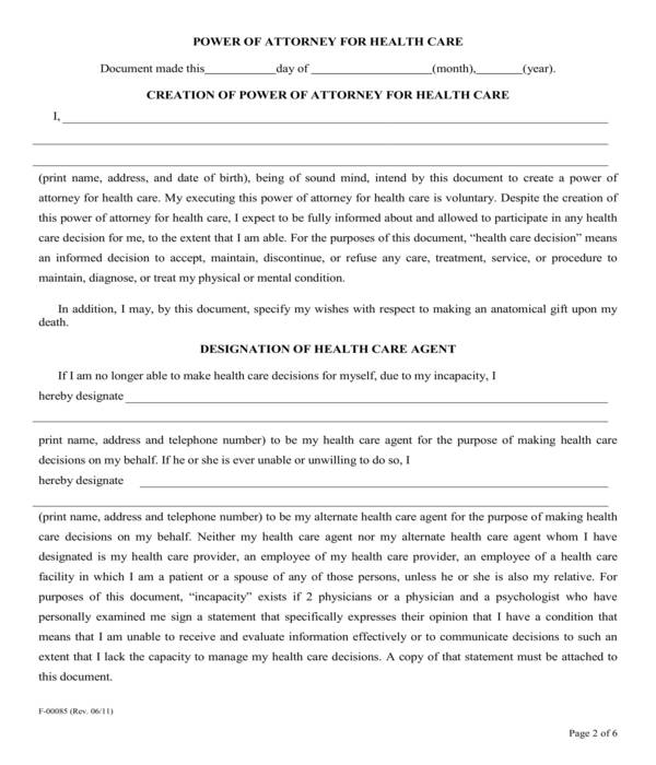 fillable health care power of attorney form