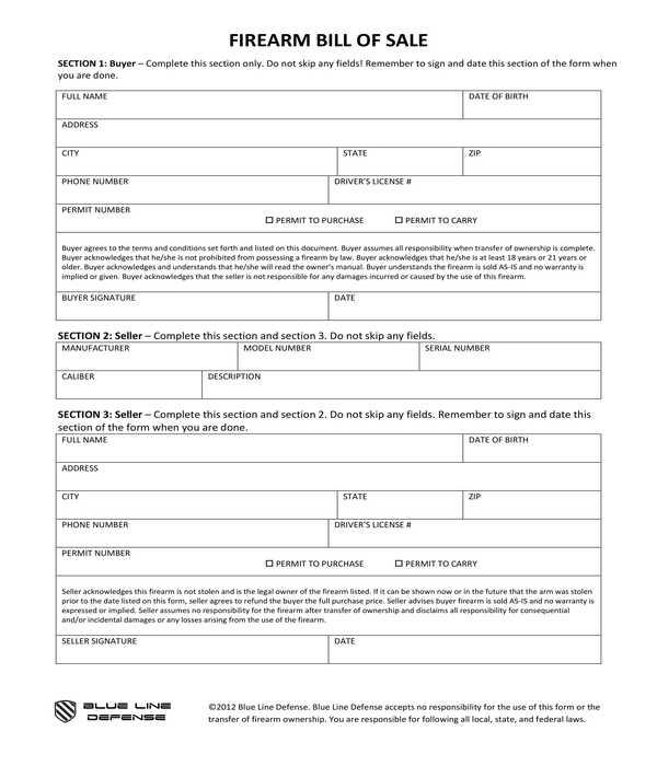 firearm bill of sale form template