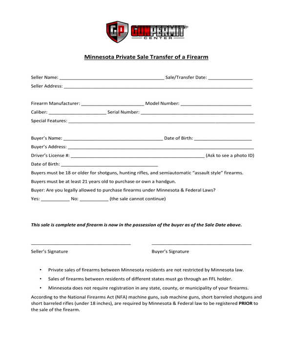 firearm private bill of sale form