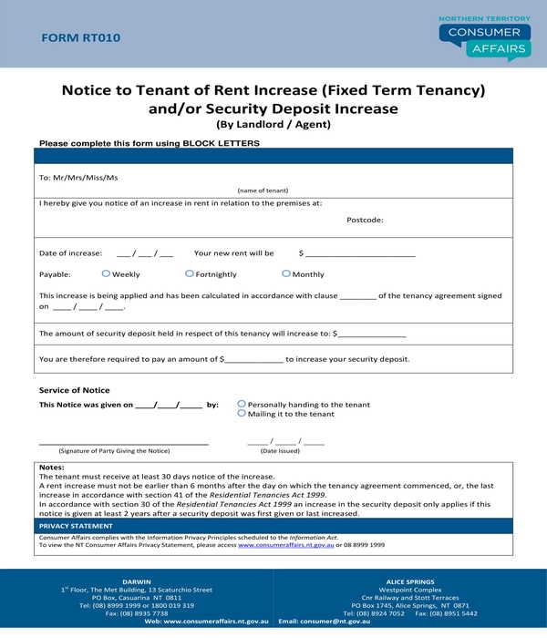 fixed term tenancy notice of rent increase form