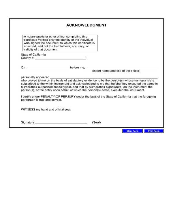 generic notary acknowledgment form
