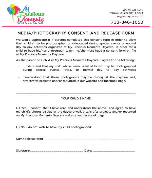 group family daycare media photography release form