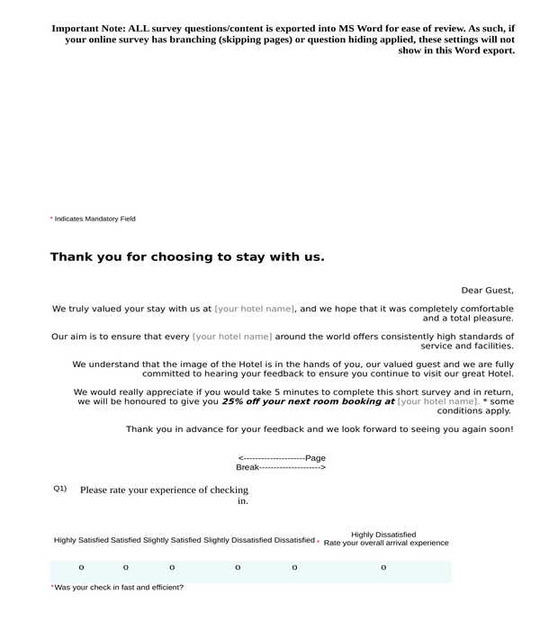 guest questionnaire hotel feedback form