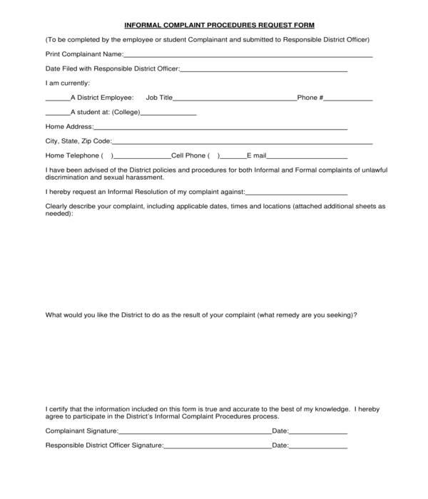 hr informal complaint procedures request form
