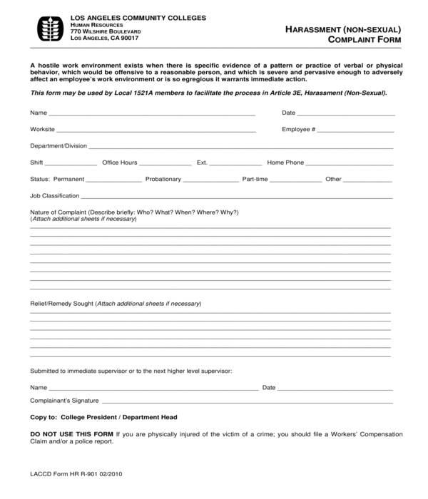 hr non sexual harassment complaint form