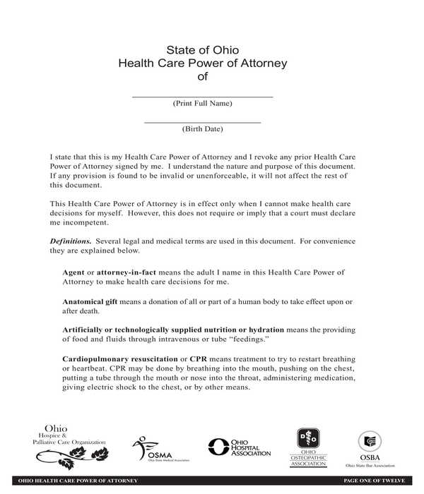 health care power of attorney form sample