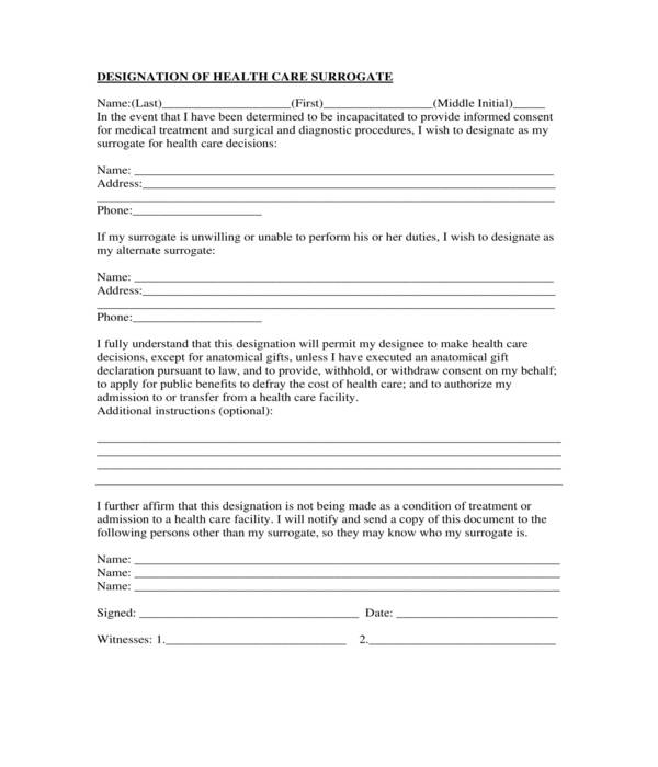 health care surrogate form sample