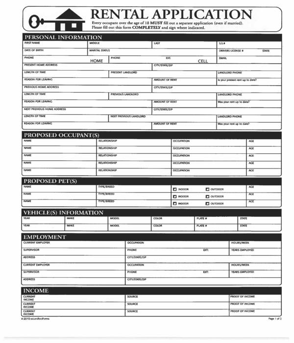 house rental application form in pdf