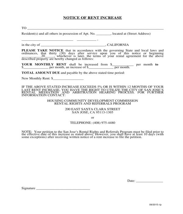 housing department notice of rent increase form