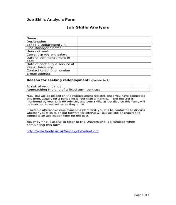 job skills analysis form