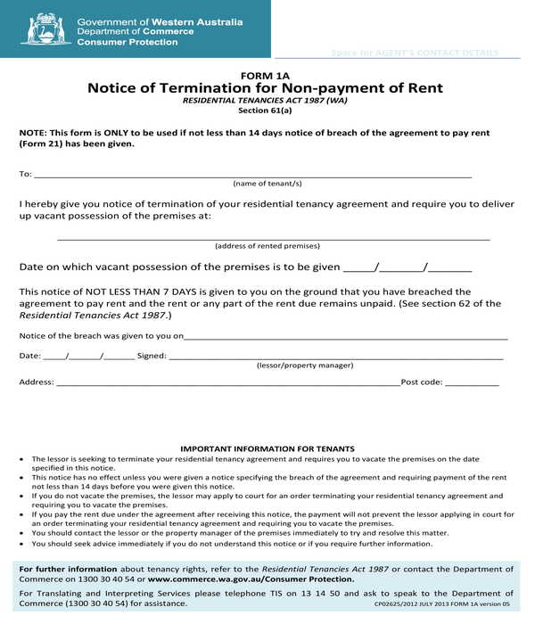 lease non payment of rent termination notice form
