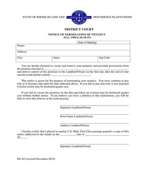 lease tenancy termination notice letter form