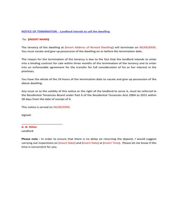 lease termination for dwelling sale letter