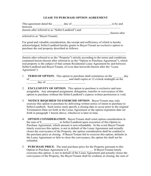 lease with an option to purchase agreement form sample