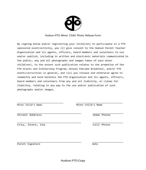 minor child photo release form