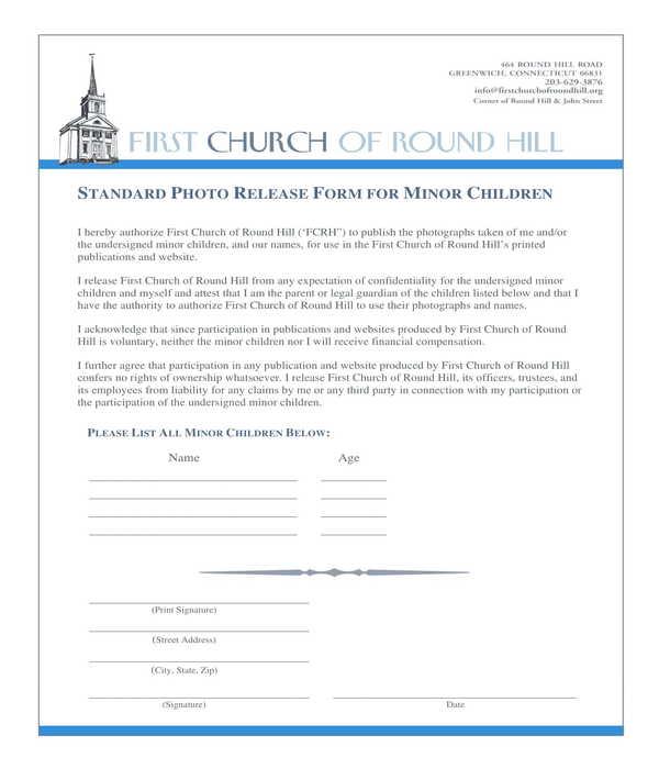 minor children photo release form