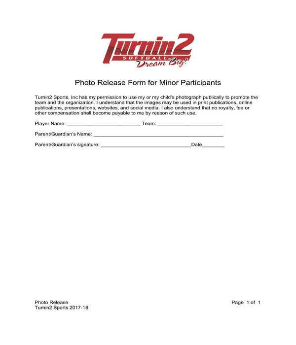 minor participants photo release form