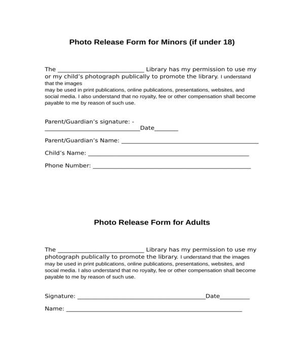 minor photo release form in doc