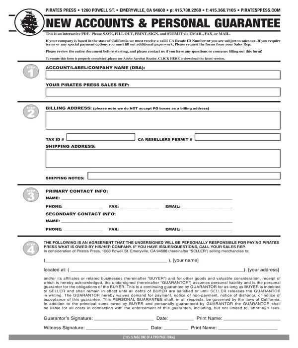 new account and personal guarantee form