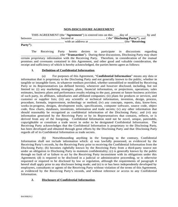 non disclosure agreement form in doc