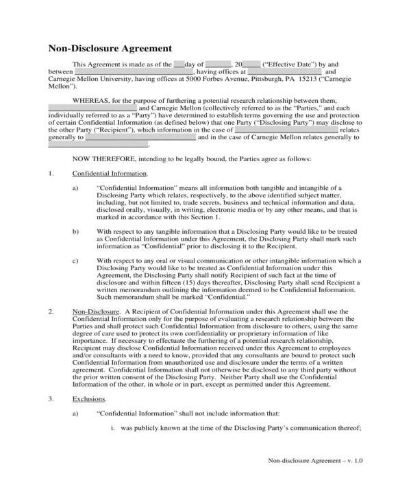 non disclosure agreement form