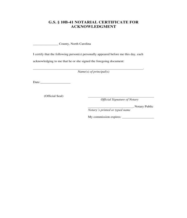 notarial certificate acknowledgment form
