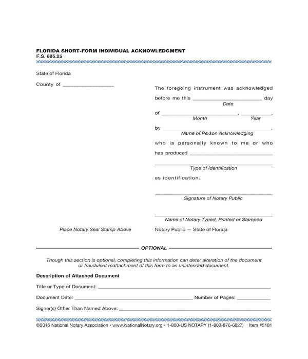notary acknowledgment short form