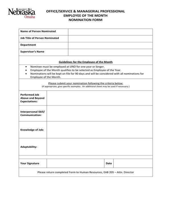 office professional employee of the month nomination form