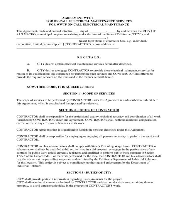 on call electrical subcontractor agreement form