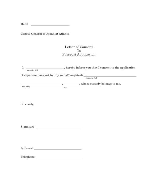 passport application letter of consent form