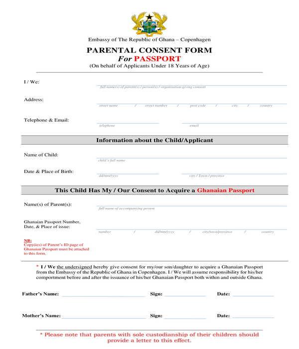 passport parental consent form