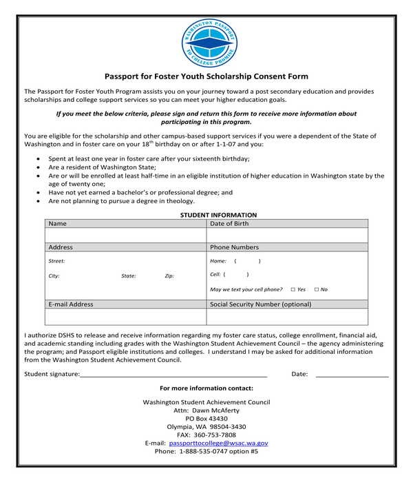 passport for foster youth scholarship consent form