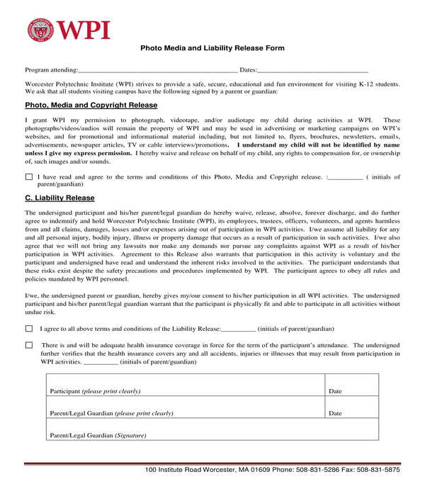 photo media and copyright release form