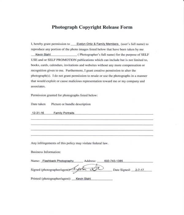photograph copyright release form sample