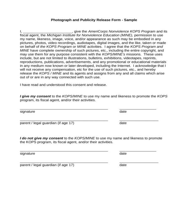 photograph and publicity release form