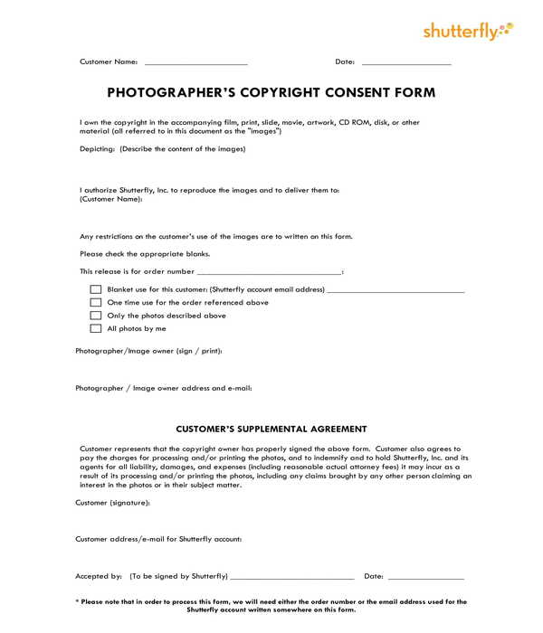 photographers copyright consent release supplemental agreement form