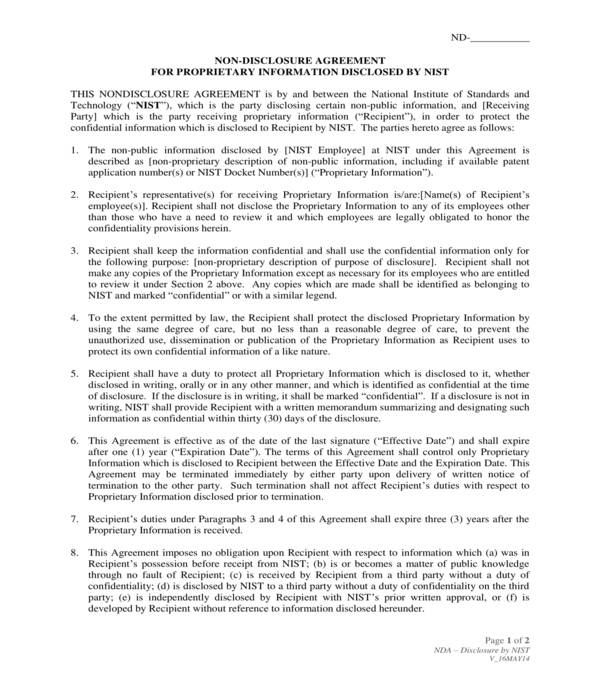 proprietary information non disclosure agreement form