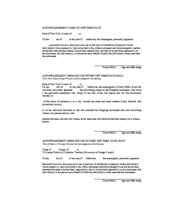 public notary acknowledgment form