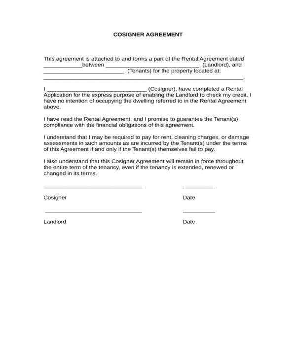 real estate lease guarantee co signer agreement form in doc