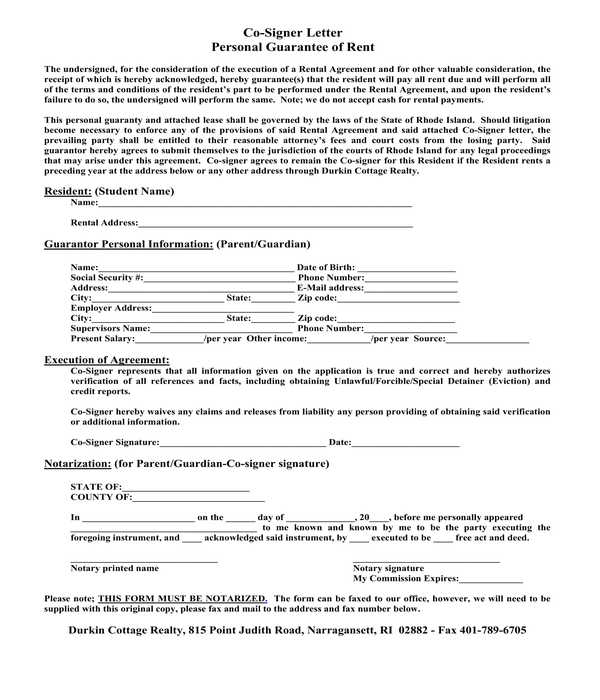 real estate lease personal guarantee co signer letter form