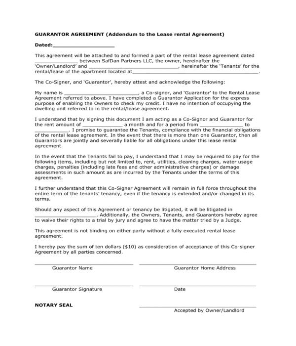 real estate lease rental guarantor agreement form