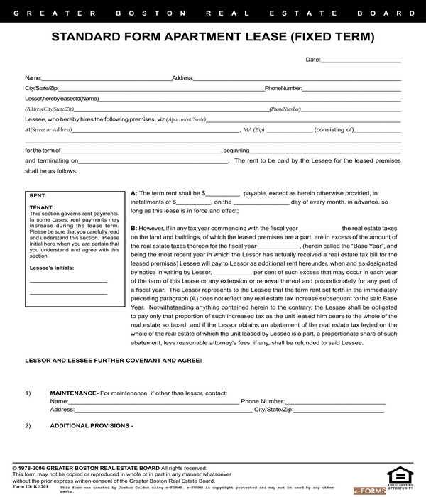 realtors apartment lease agreement form