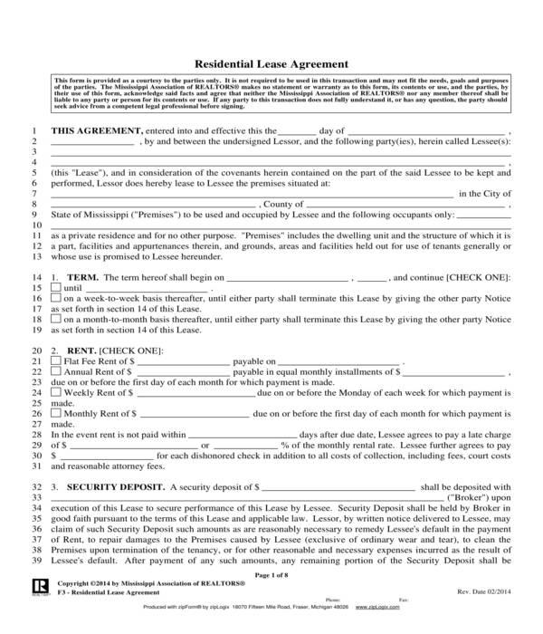 realtors lease agreement form sample